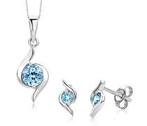 Damen-Set: Halskette + Ohrringe Blau Topas 9 Karat 375 Weißgold