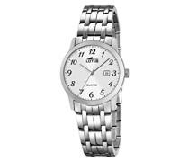 Damen Quarzuhr mit weißem Zifferblatt Analog-Anzeige und Silber Edelstahl Armband 18179/1