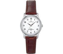 Certus-644379Damen-Armbanduhr-Quarz Analog-Weißes Ziffernblatt-Armband Leder braun