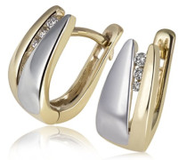 Damen-Creolen Bicolor 585 Gelbgold 6 Brillanten 0,04 ct. Ohrring