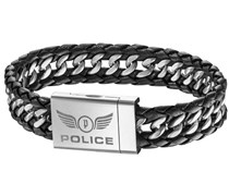 Police Herren Armband Edelstahl Leder ATTACK 20 cm PJ25332BLB-01-L
