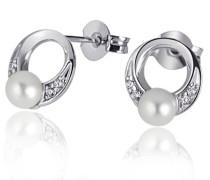 Damen-Ohrstecker 925 Sterlingsilber 2 Perlen 8 weiße Zirkonia Ohrringe Schmuck