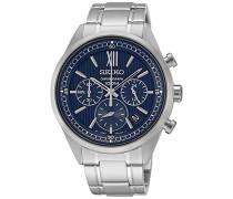 Seiko-ssb155p1-Quarz-Armbanduhr-Quarz Chronograph-Zifferblatt Blau Armband Stahl Grau