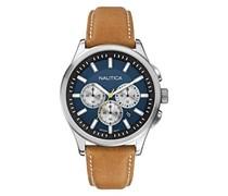 Nautica Herren-Armbanduhr Chronograph Quarz Leder A16695G