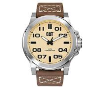 Katze Chicago 3HD Herren Quarz-Uhr mit Braun Zifferblatt Analog-Anzeige und braunem Lederband PS. 141.35.321