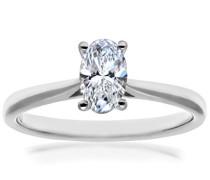 Damen-Verlobungsring Platinum 4 Claw Gallery D/VS2 EGL Brillant Ovalschliff 0,64 ct