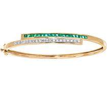 Damen-Armreif zweireihiger 375 Gelbgold Smaragd grün Quadratschliff Diamant - PBC01759Y EM