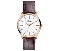 s.Oliver Herren-Armbanduhr XL Analog Quarz Leder SO-2534-LQ