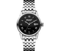 Quartz Herren-Armbanduhr Analog Quarz Edelstahl INQ030BKSL