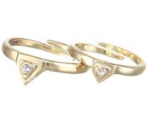 Damen-Ring Vergoldet Kristall silber größenverstellbar - 121442004