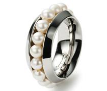 Damen-Ring Edelstahl 16 Süßwasserperlen weiß