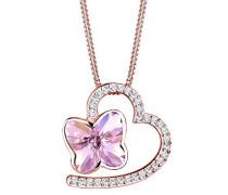 Halskette Schmetterling Swarovski Kristalle 925 Silber rosé 0112431316