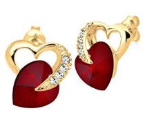 Damen Schmuck Ohrringe Ohrstecker Herz Liebe Freundschaft Liebesbeweis Silber 925 Vergoldet Swarovski Kristalle Rot