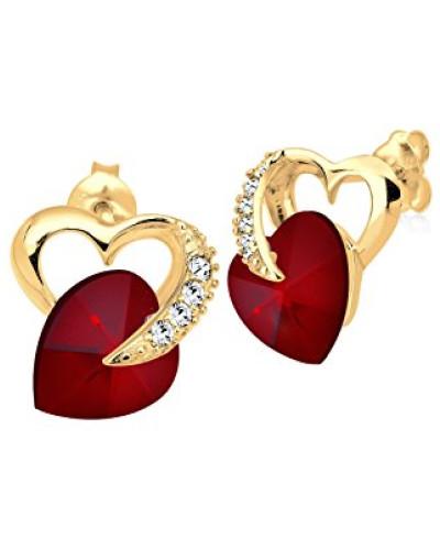 Damen Ohrringe Herz Liebe Freundschaft Liebesbeweis Vergoldet 925 Sterling Silber Swarovski Kristallerot