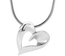 Damen-Halskette mit Anhänger / Damen-Collier aus 925 Sterling-Silber mit Herz-Anhänger / Halsschmuck 45cm lang, Silber