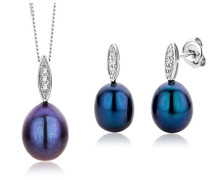 Damen-Set: Halskette + Ohrringe Süßwasser-Zuchtperlen und Diamant 9 Karat 375 Weißgold