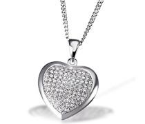 Damen-Halskette Herz 925 Sterlingsilber 85 weiße Zirkonia Herzkette Schmuck