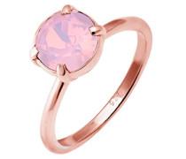 Damen Ring 925 Sterling Silber Swarovski Kristall rosa Brillantschliff