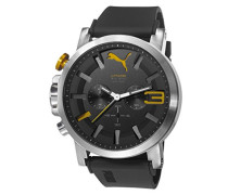 Puma Ultrasize 50 Bold Unisex Quarzuhr mit schwarzem Zifferblatt Chronograph Anzeige und Schwarz-Silikon-Bügel PU103981003