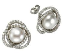 Damen-Ohrstecker 925 Sterling Silber rhodiniert Zirkonia  Silver wei Swasserzuchtperle 471220016