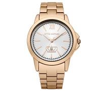 Damen Quarzuhr mit Silber Zifferblatt Analog-Anzeige und Rose Gold Armband LM015