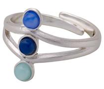 Damen-Ring Versilbert mattiert Glas mehrfarbig Rundschliff Ringgröße verstellbar - 141726204