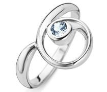 Damen-Ring 925 Silber rhodiniert Zirkonia blau Rundschliff