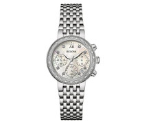 Diamond 96W204 - Damen Designer-Armbanduhr - Chronograph mit Armband aus Edelstahl - Perlmutt-Zifferblatt