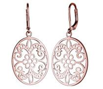 Damen Schmuck Ohrringe Ohrhänger Ornament Floral Orientalisch Cut Out Silber 925 Rosé Vergoldet