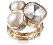 Damen-Ring Trilogy Vergoldet teilvergoldet Kristall weiß Synthetische Perle Weiß Ringgröße verstellbar - BTRAOB06