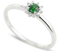 Damen-Ring 9 Karat Weißgold, Smaragd-badm 07045-0001