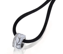 Damen-Halskette White Lack 925 Sterlingsilber 32 weiße Zirkonia Kettenanhänger Schmuck