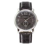 Quartz Armbanduhr von  für Männer mit Original Schweizer Uhrwerk mit Schwarzem Zifferblatt Analoger Anzeige und Schwarzem Armband aus Leder BSSM201