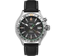 –t2p452–Intelligent Quartz–Armbanduhr–Quarz Analog–Zifferblatt schwarz Armband Leder schwarz