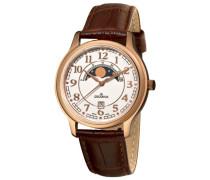 1026.1563Herren Schweizer Uhr mit Quarz Silber Zifferblatt Analog-Anzeige und braunem Lederband