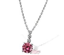 Damen-Kette mit Anhänger 925 Silber rhodiniert pink Brillantschliff Zirkonia 45 cm