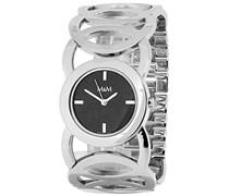 M&M Damen-Armbanduhr Analog Quarz Edelstahl M11411-145