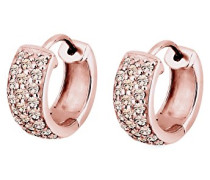 Damen Ohrringe Creolen 925 Sterling Silber Rose Vergoldet Swarovski Kristalle rosa