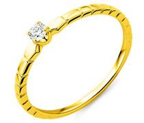 Damen Solitär-Ring, 9 Karat Gelbgold Diamant 0,08 ct-MY050R2 Größe 52