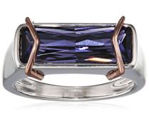 - FASHIONRING 925 Sterling-Silber  Silber Rechteckschliff   lila Tanzanite