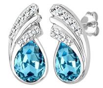 Damen Ohrstecker Tropfen Kristall 925 Sterling Silber Swarovski Kristall Brillantschliff blau 309771214