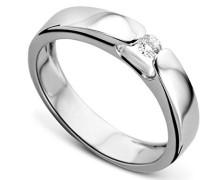 18 Karat (750) Weigold  52 (16.6) Damenring, mit 1 (0,07 cts) Diamanten M0250WM