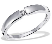 Goldmaid Damen-Ring Verlobung Solitär 585 Weißgold rhodiniert Diamant (0.10 ct) Brillantschliff weiß - So R6089WG