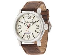 Timberland Berkshire Herren Quarz-Uhr mit Zifferblatt Analog-Anzeige und braun Lederband 14815js/07