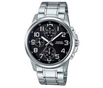 mtp-e307d-1Herren Uhr Analog, Schwarz/Grau