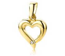 Damen-Anhänger Herz 9 Karat 375 Gelbgold Brillant