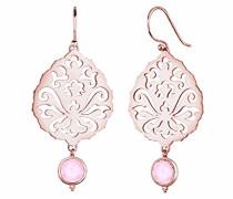 Damen Ohrhänger Ornament 925 Sterling Silber Quarz rosevergoldet rosa Brillantschliff 0303541015