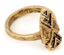 14 Karat vergoldet Hämatit, Pavé-Fassung, Pfeilspitzen-Ring