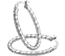 Damen-Ohrringe Creolen 9 Karat Diamantschliff ovale 375 Weißgold rhodiniert RIL1316W