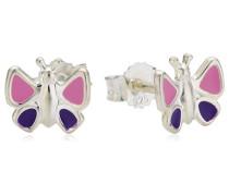 Kinder-Ohrstecker 925 Sterling Silber Schmetterling lack pink/lila 371220172-1